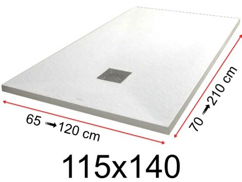 Shower tray - 115x140 cm - 1150x1400 mm - in mineral resin, extra flat - White PIERRE