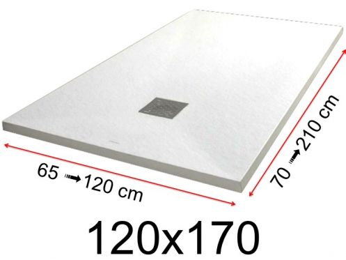Shower tray - 120x170 cm - 1200x1700 mm - in mineral resin, extra flat - White PIERRE