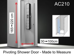 Shower door 70 x 195 cm customized, swiveling inside and outside, left hinge hinge, 6mm safety glass, with anti-lime treatment - AC210 FG