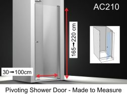 Shower door 85 x 195 cm customized, swiveling inside and outside, right hinge hinge, 6mm safety glass, with anti-kalk treatment - AC210 FD