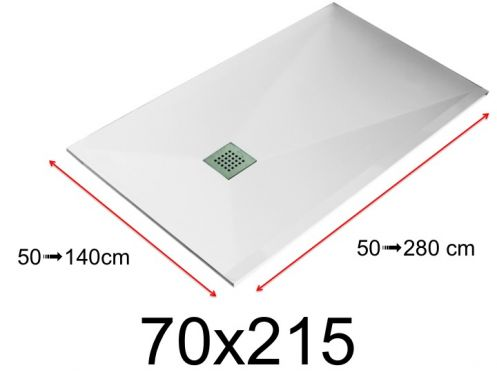 Shower tray - 70x215 cm - 700x2150 mm - in mineral resin, extra flat - White LISSO