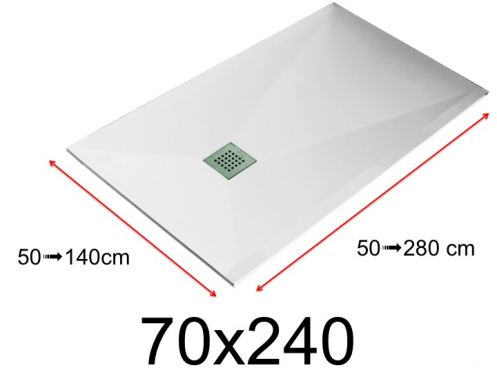 Shower tray - 70x240 cm - 700x2400 mm - in mineral resin, extra flat - White LISSO