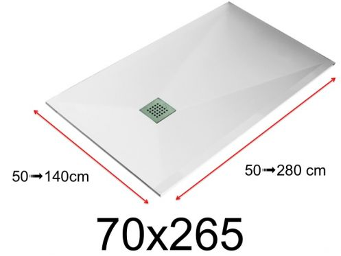 Shower tray - 70x265 cm - 700x2650 mm - in mineral resin, extra flat - White LISSO