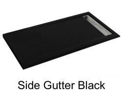 Shower tray 115 cm, drain channel - SIDE black