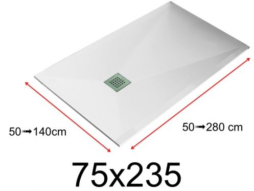 Shower tray - 75x235 cm - 750x2350 mm - in mineral resin, extra flat - White LISSO