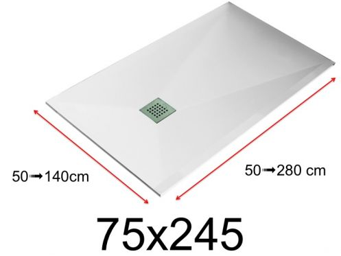 Shower tray - 75x245 cm - 750x2450 mm - in mineral resin, extra flat - White LISSO