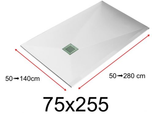Shower tray - 75x255 cm - 750x2550 mm - in mineral resin, extra flat - White LISSO