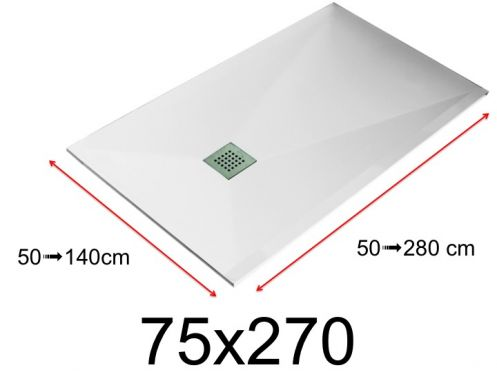 Shower tray - 75x270 cm - 750x2700 mm - in mineral resin, extra flat - White LISSO