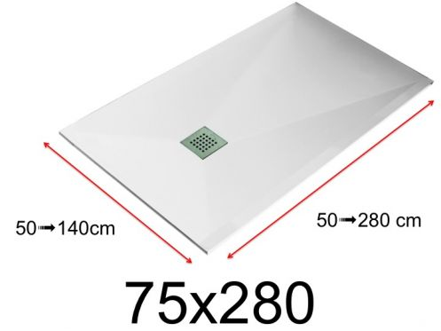 Shower tray - 75x280 cm - 750x2800 mm - in mineral resin, extra flat - White LISSO