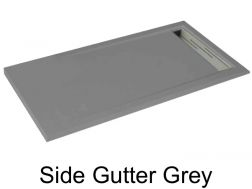 Shower tray 155 cm, drain channel - SIDE gray