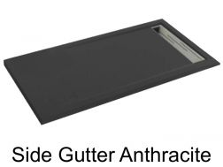 Shower tray 165 cm, drain channel - SIDE anthracite