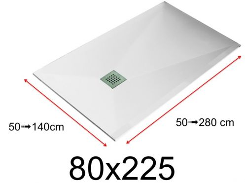Shower tray - 80x225 cm - 800x2250 mm - in mineral resin, extra flat - White LISSO