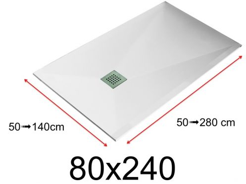 Shower tray - 80x240 cm - 800x2400 mm - in mineral resin, extra flat - White LISSO