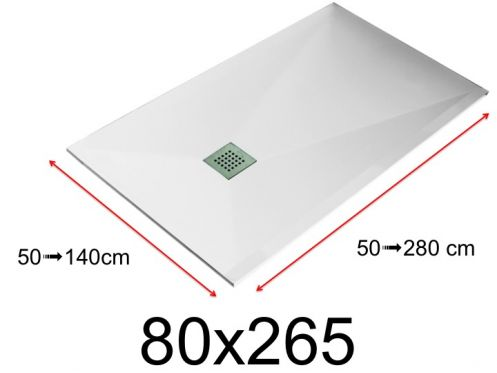 Shower tray - 80x265 cm - 800x2650 mm - in mineral resin, extra flat - White LISSO