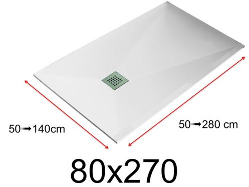 Shower tray - 80x270 cm - 800x2700 mm - in mineral resin, extra flat - White LISSO