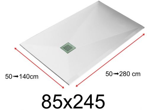 Shower tray - 85x245 cm - 850x2450 mm - in mineral resin, extra flat - White LISSO