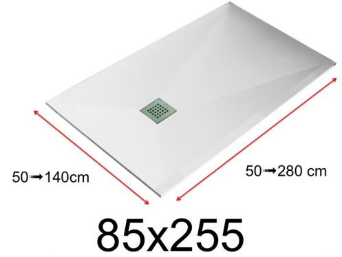 Shower tray - 85x255 cm - 850x2550 mm - in mineral resin, extra flat - White LISSO