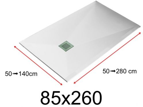 Shower tray - 85x260 cm - 850x2600 mm - in mineral resin, extra flat - White LISSO