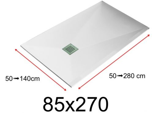 Shower tray - 85x270 cm - 850x2700 mm - in mineral resin, extra flat - White LISSO