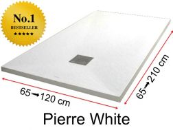 Shower tray 195  cm, in resin, small size and big size extra flat, Pierre white