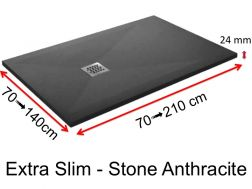 Shower tray 190 cm, in resin, small size and big size, extra flat, Extra Slim-Stone anthracite