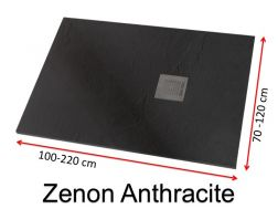 Shower tray 190 cm, in resin, small size and big size extra flat, Zenon Slate anthracit color