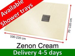 Shower tray 140 cm, in resin, small size and big size extra flat, Zenon Slate cream color
