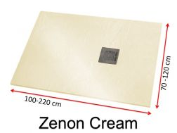 Shower tray 190 cm, in resin, small size and big size extra flat, Zenon Slate cream color