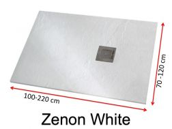 Shower tray 190 cm, in resin, small size and big size extra flat, Zenon Slate white color