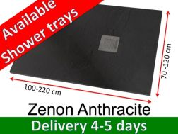 Shower tray 180 cm, in resin, small size and big size extra flat, Zenon Slate anthracit color