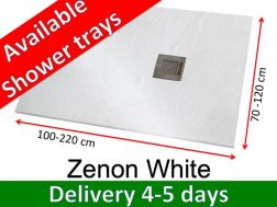 Shower tray 180 cm, in resin, small size and big size extra flat, Zenon Slate white color