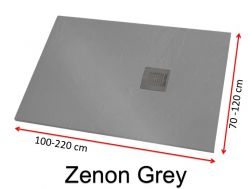 Shower tray 180 cm, in resin, small size and big size extra flat, Zenon Slate grey color