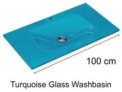 Glass Washbasin 46 x 100 - Turquoise