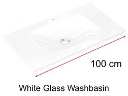 Glass Washbasin 46 x 100 - white