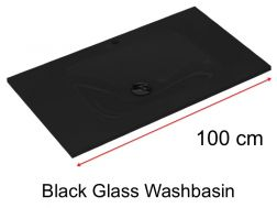 Glass Washbasin 46 x 100 - black