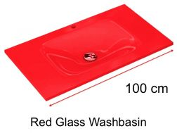 Glass Washbasin 46 x 100 - red