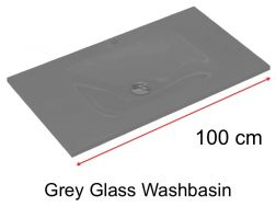 Glass Washbasin 46 x 100 - grey