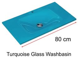 Glass Washbasin 46 x 80 - Turquoise