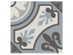 LILOU BLEU 20x20 - Floor tile with cement tiles, porcelain.