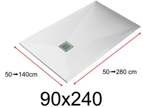 Shower tray - 90x240 cm - 900x2400 mm - in mineral resin, extra flat - White LISSO