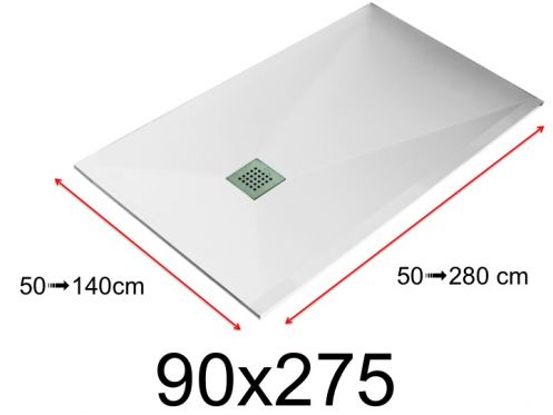 Shower tray - 90x275 cm - 900x2750 mm - in mineral resin, extra flat - White LISSO