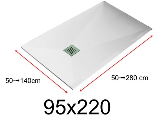 Shower tray - 95x220 cm - 950x2200 mm - in mineral resin, extra flat - White LISSO