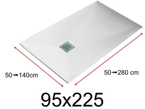 Shower tray - 95x225 cm - 950x2250 mm - in mineral resin, extra flat - White LISSO