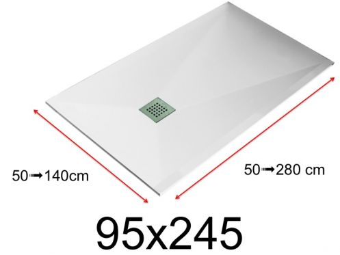 Shower tray - 95x245 cm - 950x2450 mm - in mineral resin, extra flat - White LISSO