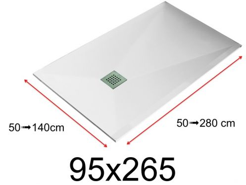 Shower tray - 95x265 cm - 950x2650 mm - in mineral resin, extra flat - White LISSO