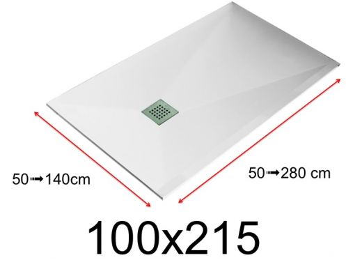 Shower tray - 100x215 cm - 1000x2150 mm - in mineral resin, extra flat - White LISSO