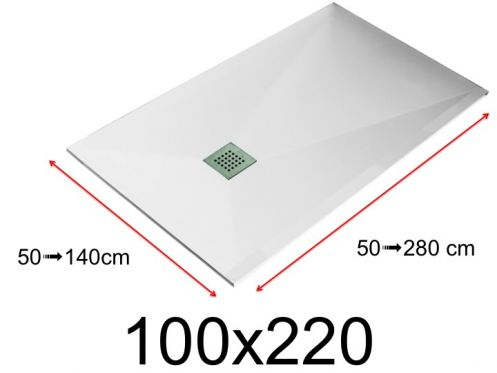 Shower tray - 100x220 cm - 1000x2200 mm - in mineral resin, extra flat - White LISSO