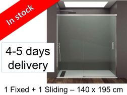 Sliding shower door with a fixed - 140 x 195 cm - BASIC FRONTAL