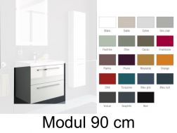 Hanging basin cabinet, 90 cm, two drawers with handle, gloss finish, GLOSS