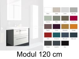 Hanging basin cabinet, 120 cm, two drawers with handle, gloss finish, GLOSS